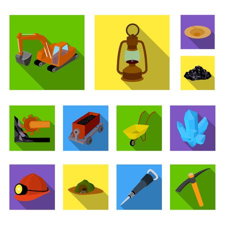 Mining industry flat icons in set collection for design. Equipment and tools vector symbol stock web illustration. Vektoros illusztráció