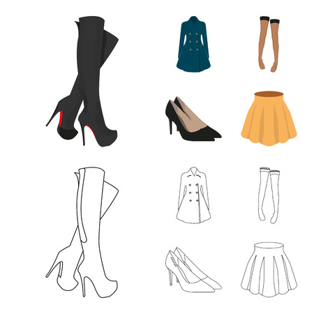 Women high boots, coats on buttons, stockings with a rubber band with a pattern, high-heeled shoes. Women clothing set collection icons in cartoon,outline style vector symbol stock illustration web.