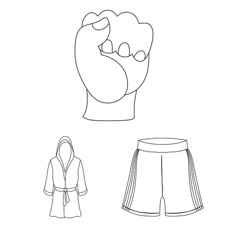 Boxing extreme sports outline icons in set collection for design. Boxer and attributes vector symbol stock web illustration. Banque d'images - 100807500