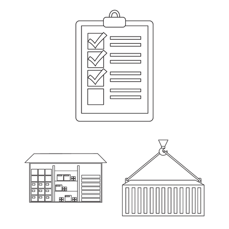 Logistics service outline icons in set collection for design. Logistics and equipment vector symbol stock web illustration. Illustration