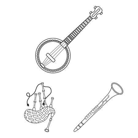 Musical instrument outline icons in set collection for design. String and Wind instrument vector symbol stock web illustration.