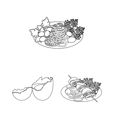 Cooking food outline icons in set collection for design. Kitchen, equipment and tools vector symbol stock web illustration. Illustration