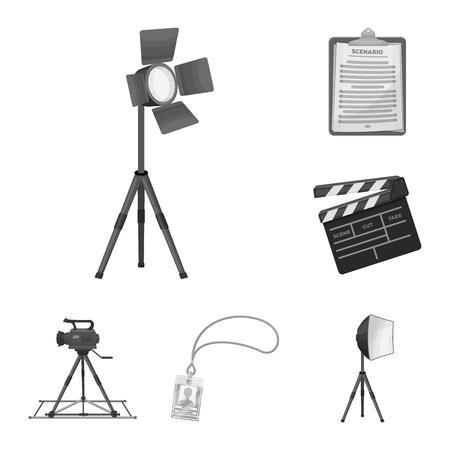 Dokonywanie monochromatyczne ikony filmu w kolekcji zestawu do projektowania. Atrybuty i wyposażenie wektor symbol sieci web ilustracji.