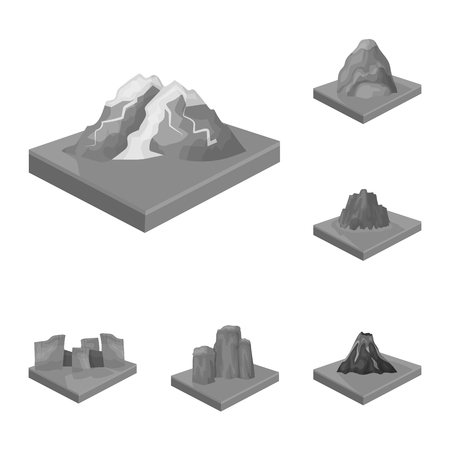 Mountains, massive monochrome icons in set collection for design. The surface of the earth vector isometric symbol stock web illustration. Foto de archivo - 100807822