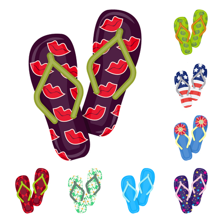 Flip flops icons in set collection