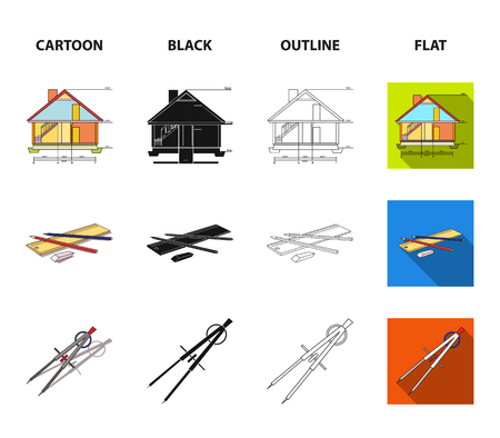 Drawing accessories, metropolis, house model. Architecture set collection icons in cartoon,black,outline,flat style vector symbol stock illustration web.