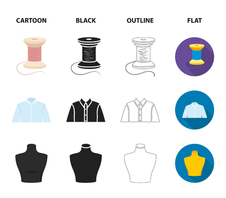 A man shirt, a mannequin, a roll of fabric, a ball of threads and knitting needles.Atelier set collection icons in cartoon,black,outline,flat style vector symbol stock illustration web. Illustration