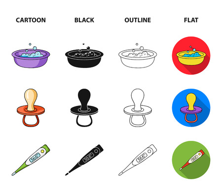 Pacifier, electronic thermometer, children overalls, diaper.Baby born set collection icons in cartoon,black,outline,flat style vector symbol stock illustration web.