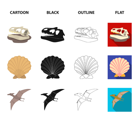 Prehistoric shell, dinosaur eggs,pterodactyl, mammoth. Dinosaur and prehistoric period set collection icons in cartoon,black,outline,flat style vector symbol stock illustration web.