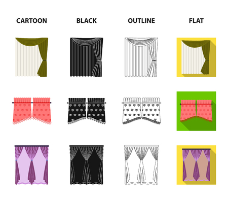 Curtains, stick, cornices, and other web icon in cartoon,black,outline,flat style.Bow, fabric, tulle icons in set collection. Vectores