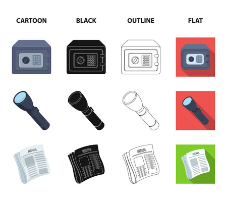 Flashlight, newspaper with news, certificate, folding knife.Detective set collection icons in cartoon,black,outline,flat style vector symbol stock illustration web.
