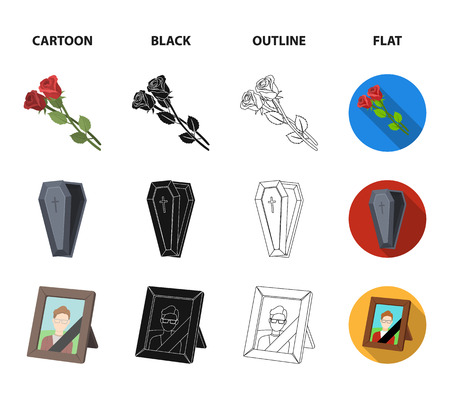 Coffin with a lid and a cross, a photograph of the deceased with a mourning ribbon, a corpse on the table with a tag in the morgue, death in a hood. Funeral ceremony set collection icons in cartoon,black,outline,flat style vector symbol stock illustration web. Illustration
