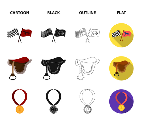 Saddle, medal, champion, winner .Hippodrome and horse set collection icons in cartoon,black,outline,flat style vector symbol stock illustration web.