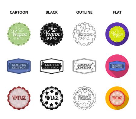 Limited edition, vintage, mega discont, dig sale.Label,set collection icons in cartoon,black,outline,flat style vector symbol stock illustration web. Illustration