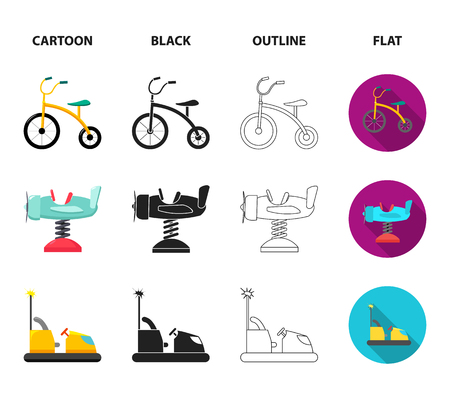 Airplane on a spring, swings and other equipment. Playground set collection icons in cartoon,black,outline,flat style vector symbol stock illustration web. Stock Illustratie