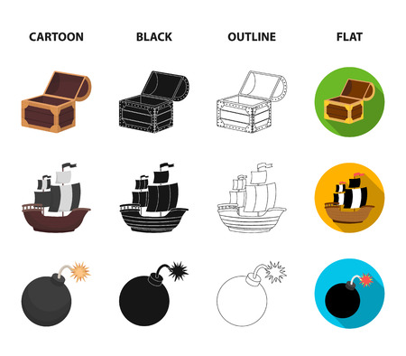 Pirate, bandit, ship, sail .Pirates set collection icons in cartoon,black,outline,flat style vector symbol stock illustration web. Vectores