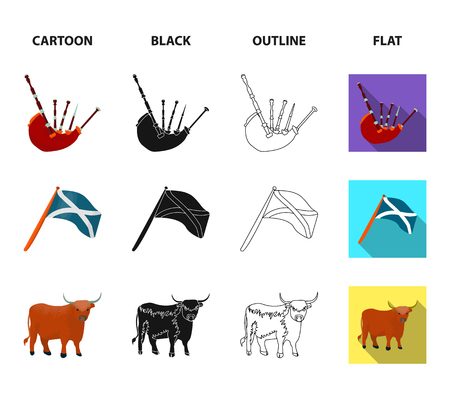 The state flag of Andreev, Scotland, the bull, the sheep, the map of Scotland. Scotland set collection icons in cartoon,black,outline,flat style vector symbol stock illustration web.