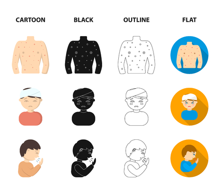 A man with a bandaged head, a man coughing, a man snorts a snot, a bowl, a bowl of hot broth into a handkerchief. Sick set collection icons in cartoon,black,outline,flat style vector symbol stock illustration web.