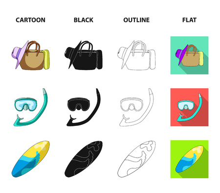 Diving, surfing, cocktail.Summer vacation set collection icons in cartoon,black,outline,flat style vector symbol stock illustration web.