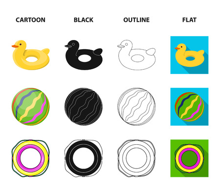 Multicolored swimming circle cartoon,black,outline,flat icons in set collection for design. Different lifebuoys vector symbol stock web illustration. Vectores