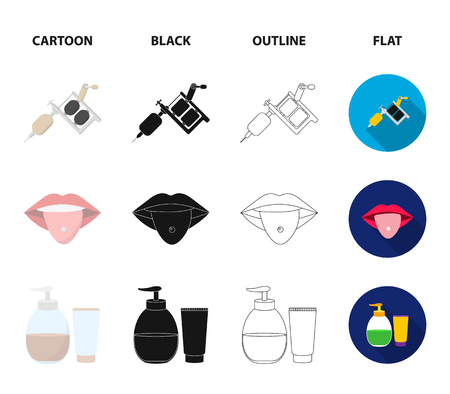 Piercing in tongue, gel, sallon. Tattoo set collection icons in cartoon,black,outline,flat style vector symbol stock illustration web.