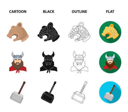 Viking in helmet with horns, mace, bow with arrow, treasure. Vikings set collection icons in cartoon,black,outline,flat style vector symbol stock illustration web.