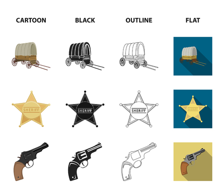 Star sheriff, Colt, dynamite, cowboy boot. Wild West set collection icons in cartoon,black,outline,flat style vector symbol stock illustration web.
