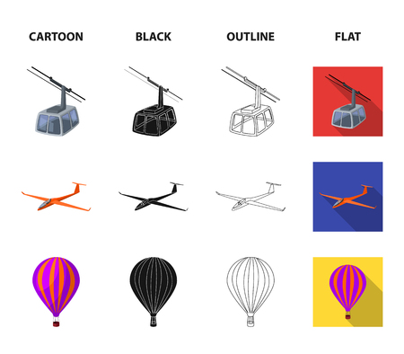 Transport set collection icons in cartoon, black, outline, flat style vector symbol stock illustration.