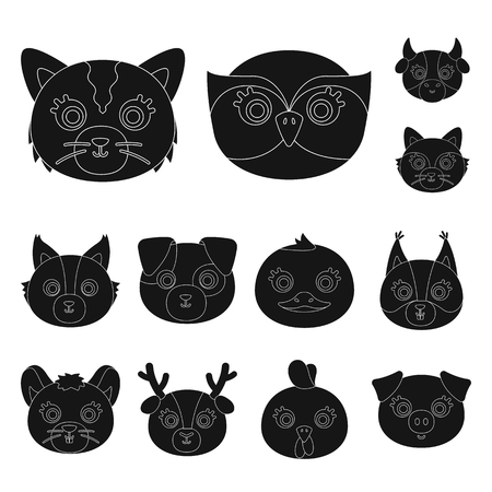 Muzzles of animals black icons in set collection for design. Wild and domestic animals vector symbol stock web illustration. Çizim