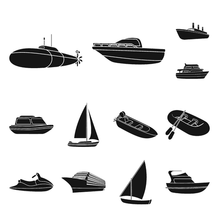 Water and sea transport black icons in set collection for design. A variety of boats and ships vector symbol stock web illustration. Imagens - 100809644