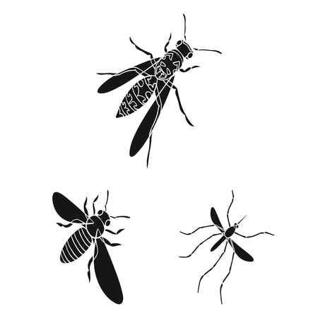 Different kinds of insects black icons in set collection for design. Insect arthropod vector isometric symbol stock web illustration. Ilustração