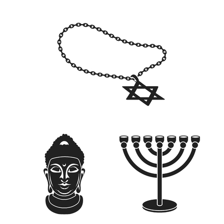 Religion and belief icons in set collection
