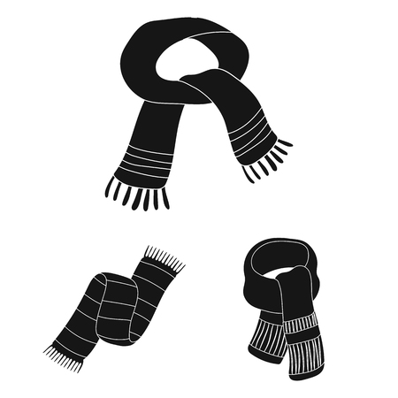 Scarf and shawl black icons in set collection for design. Clothes and accessory vector symbol stock web illustration.