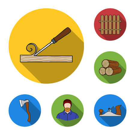 Sawmill and timber flat icons in set collection for design. Hardware and Tools vector symbol stock web illustration. Illustration