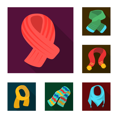 Scarf and shawl flat icons in set collection for design. Clothes and accessory vector symbol stock web illustration. Иллюстрация