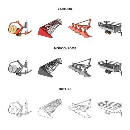 Plow, combine thresher, trailer and other agricultural devices. Illustration