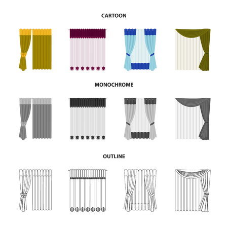 Curtains, drapes, garters, and other web icon in cartoon, outline, monochrome style. Textiles, furniture, bow icons in set collection.