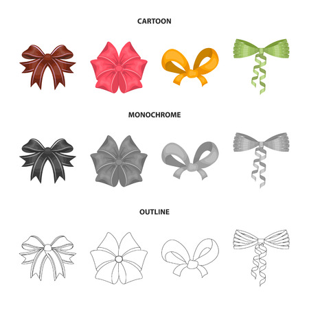 Bow ribbon decoration and other icon in cartoon outline.