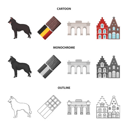 Chocolate, cathedral and other symbols of the country. Belgium set collection icons in cartoon, outline, monochrome style vector symbol stock illustration web.