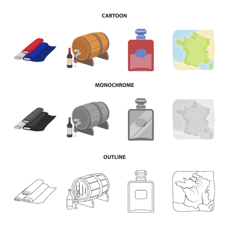 France country set collection icons in cartoon.
