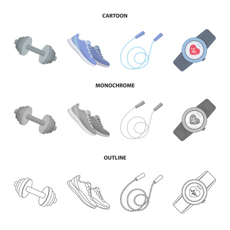 Dumbbell, rope and other equipment for training. Gym and workout set collection icons in cartoon, outline, monochrome style vector symbol stock illustration web. Illustration