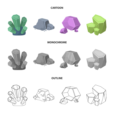 Crystals, iron ore, precious minerals and a jewelry set collection icons in cartoon, outline, monochrome style vector symbol stock illustration web. Illusztráció