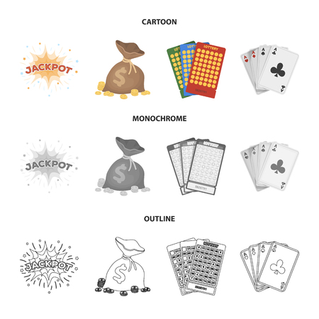 Jack sweat, a bag with money won, cards for playing bingo, playing cards. Casino and gambling set collection icons in cartoon, outline, monochrome style vector symbol stock illustration web.  イラスト・ベクター素材