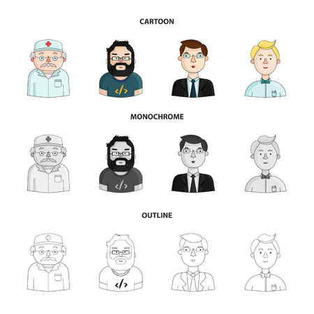 Doctor in a dressing gown with a red cross on his head, a hacker with a beard in a t-shirt and glasses, a businessman in a tie, a waiter in a gastronome, a butterfly. People of different professions set collection icons in cartoon, outline, monochrome style vector symbol stock illustration web.