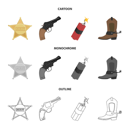 Star sheriff, dynamite, cowboy boot. Wild west set collection icons in cartoon, outline, monochrome style vector symbol stock illustration web.