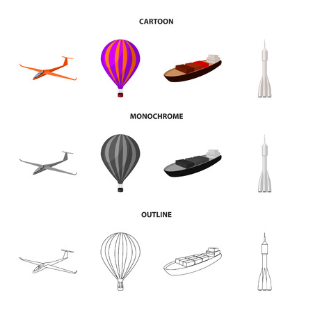 A drone, a glider, a balloon, a transportation barge, a space rocket transport modes. Transport set collection icons in cartoon,outline,monochrome style vector symbol stock illustration . Ilustrace