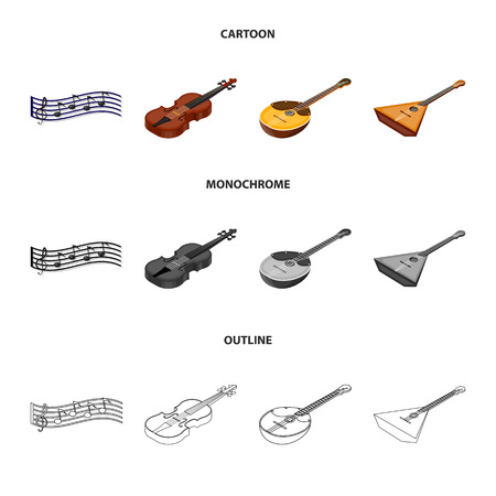 Musical instrument cartoon outline monochrome icons.