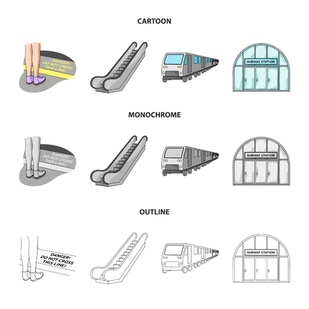 Public transportation machinery icons in set collection Illustration