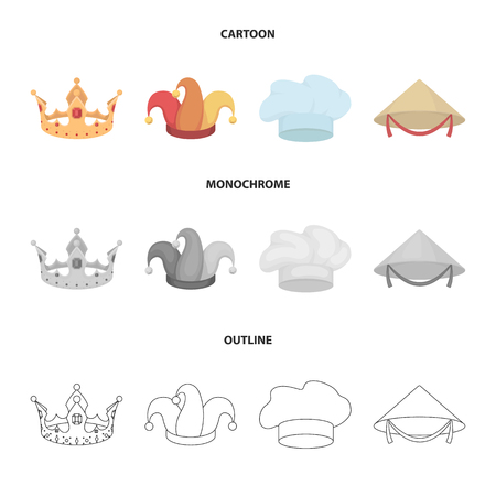 Crown, jester cap, cook, cone. Hats set collection icons in cartoon,outline,monochrome style vector symbol stock illustration web.
