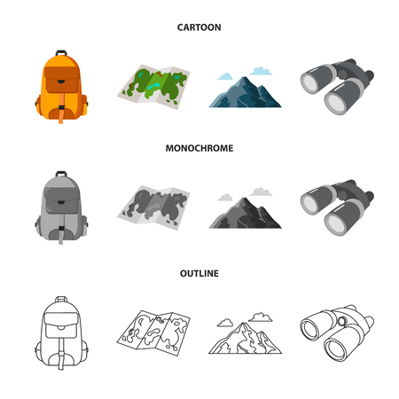 Backpack, mountains, map of the area, binoculars. Camping set collection icons in cartoon,outline,monochrome style vector symbol stock illustration web. Vettoriali